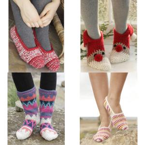 Hækleopskrifter til strømper, sokker og hjemmesko